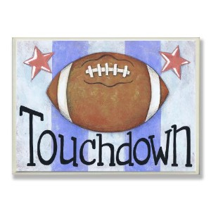 The Kids Room by Stupell Touchdown Football with Blue Stripes Rectangle Wall Plaque by The Kids...
