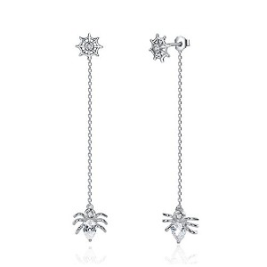 Bamoer Spider Silver Pierced Earrings バックキャッチクモロングチェーンピアス シルバーピアス ジルコン付
