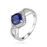 JewelryPalace クッション 2.2ct 合成石 スクエア ブルー サファイア 指輪 約束 記念 スターリング シルバー927 リング サイズ 14