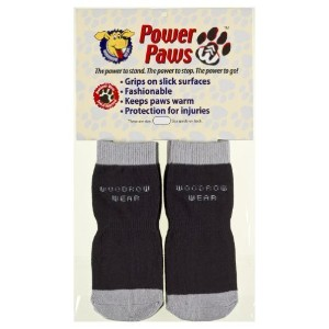 Power Paws - Paw Protection and Traction for your Pup - Black w/Gray Trim - Medium (Dog weight 45...