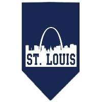 Mirage Pet Products 66-84 LGNB St Louis Skyline Screen Print Bandana Navy Blue large