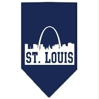 Mirage Pet Products 66-84 SMNB St Louis Skyline Screen Print Bandana Navy Blue Small