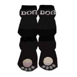 Pet Life F22BKXSSM Black and White Dog Socks with Rubberized Soles - SM