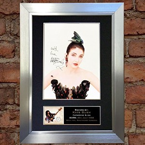 KATE BUSH Signed Autograph Mounted Photo Reproduction A4 Print no314 (Silver frame)