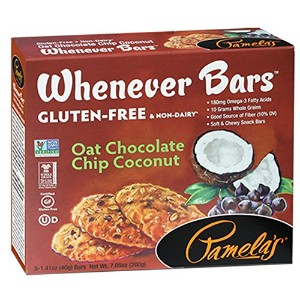 Pamela's Products, Whenever Bars, Oat Chocolate Chip Coconut, 5 Bars, 1.41 oz (40 g) Each