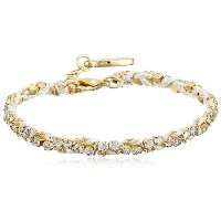 [エティカ]Ettika White Silk Thread and Rhinestone Crystal Braided Bracelet ブレスレット ジュエリー[並行輸入品]