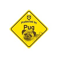 Protected by Pug スモールサインボード:パグ 監視中 ミニ看板 アメリカ製 Made in U.S.A [並行輸入品]