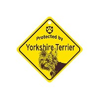 Protected by Yorkshire Terrier スモールサインボード:ヨークシャーテリア 監視中 ミニ看板 アメリカ製 Made in U.S.A [並行輸入品]