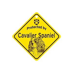 Protected by Cavalier Spaniel スモールサインボード:キャバリアスパニエル 監視中 ミニ看板 アメリカ製 Made in U.S.A [並行輸入品]