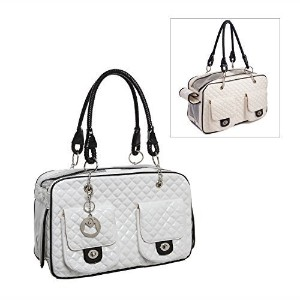 MG Collection?White Quilted Designer Inspired Faux Patent Leather Dog & Cat Pet Carrier Tote...