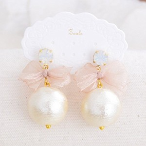 【zoule/ゾーラ】 cottonpearl ribbon ピアス / ピンク