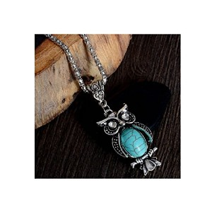 Crystal stone Owl Pendant Necklace Turquoise Necklace