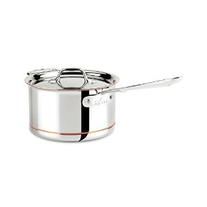 All-Clad 6204 SS Copper Core 5-Ply Bonded Dishwasher Safe Saucepan with Lid / Cookware, 4-Quart,...