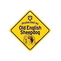 Protected by Old English Sheepdog スモールサインボード:オールドイングリッシュシープドッグ 監視中 ミニ看板 アメリカ製 Made in U.S.A [並行輸入品]