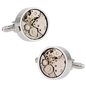 WorkingシルバーWatch MovementスチームパンクCufflinks Cuff - Daddy
