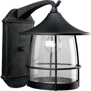 Progress Lighting P5764-71 1-Light Wall Lantern with Wire Frames and Clear Seeded Glass, Gilded...
