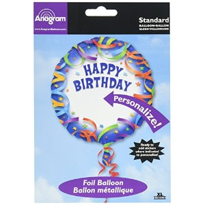 Anagram International Happy Birthday Streamer Personalized Package Balloon, 18 by Anagram Internatio...