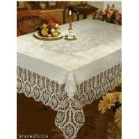 New Crochet Vinyl Lace Tablecloth, 60 wide X 90 long Oblong, Bone Beige by Better Home