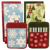 Town & Country Living クリスマス キッチン6点セット Dタイプ (キッチンタオル×4 鍋敷き×2) Christmas 6Pack Kitchen Towel & Pot...