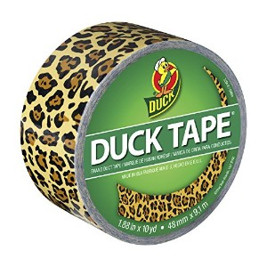 Duck Brand 1379347 Spotted Leopard Printed Duct Tape (Single Roll), Black/Yellow