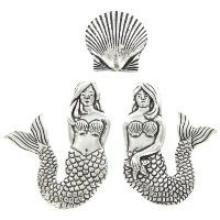 Pewter Mermaids and Scallop Seashell Magnets Set of 3 by Basic Spirit