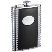 Visol Tux Deux Leatherette Stainless Steel Hip Flask, 8-Ounce, Black by Visol