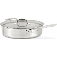 All-Clad 4404 Stainless Steel Tri-Ply Bonded Dishwasher Safe Saute Pan with Lid / Cookware, 4-Quart...