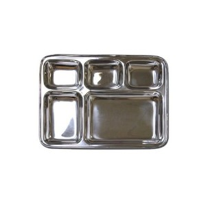 Stainless Steel Rectangular Divided Dinner Tray 5 sections by Ai-De-Chef