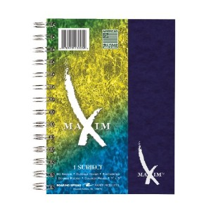 Maxim Notebook, College Rule, 7 x 5, 1 Subject, 80 Sheets/Pad, Assorted (並行輸入品)