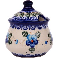Polish Pottery Ceramika Boleslawiec, 0051/162, Sugar Bowl Iza, 1 Cup, Royal Blue Patterns with Blue...