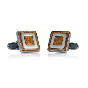 Clever反射オレンジエナメルSquare Silver Cufflinks Cuff - Daddy