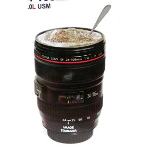 Caniam Camera 1:1 EF 24-105mm f/4.0L USM Stainless Steel Mug Interior Hot Cold Coffee Tea Travel...