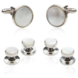 Cuff - Daddy Mother of Pearl Cufflinks and Studs Formal Set