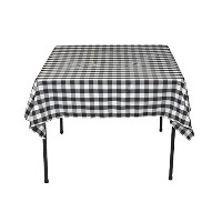 LinenTablecloth 54-Inch Square Polyester Tablecloth Black & White Checker by LinenTablecloth