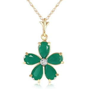 """K14 Solid Gold 18"""" Necklace with Emeralds and Diamond Flower Pendant"""