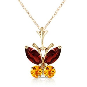 "K14 Solid Gold 18"" Necklace with Garnet and Citrine Butterfly Pendant"