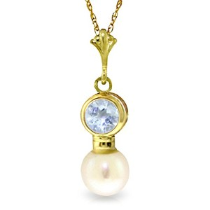 "K14 Yellow Gold 18"" Aquamarine and Cultured Pearl Pendant Necklace"