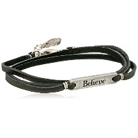 [エティカ]Ettika Silver Colored Believe Statement Plate Black Leather Wrap Bracelet ブレスレット ジュエリー[並行輸入品]