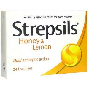 Strepsils Honey and Lemon Cough Pill Relieve Sore Throat 24 Lozenge by Strepsils
