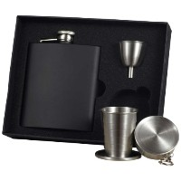 Visol Raven Stainless Steel Stellar Flask Gift Set, 8-Ounce, Black by Visol