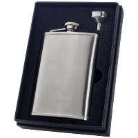 Visol Edge Liquor Flask Gift Set, Satin, 8-Ounce by Visol