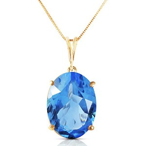 """K14 Yellow Gold 18""""Necklace with 8 Carats Natural Oval-shaped Blue Topaz"""