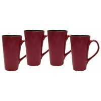 Culver Serenity Cafe Grande Ceramic Mug, 16-Ounce, Russet, Set of 4 by Culver