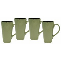 Culver Serenity Cafe Grande Ceramic Mug, 16-Ounce, Granite, Set of 4 by Culver