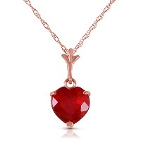 K14 Rose Gold Necklace with Natural Heart Ruby