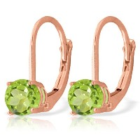 K14 Rose Gold Leverback Earrings with Peridot