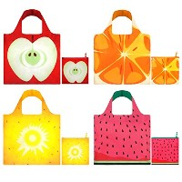 LOQI Frutti Collection Pouch Reusable Bags, Multicolored, Set of 4 by LOQI