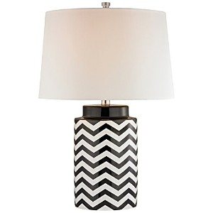 26 Chevron Table Lamp in Black and White by Diamond Lighting