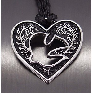 "Amulet Heart of love Holy Spirit Heart Pewter Pendant with 20"" Free Necklace. 20「無料のネックレスとの愛..."