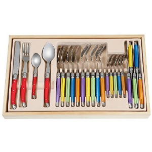 FlyingColors Laguiole Stainless Steel Flatware Set. Plastic Handle, Wooden Gift Box, 24 Pieces by...
